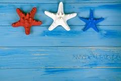 Stelle marine patriottiche su legno Fotografia Stock Libera da Diritti