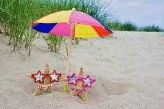 Stelle marine sotto l'ombrello Fotografia Stock