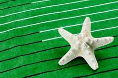 Stelle marine su un asciugamano di spiaggia Immagini Stock