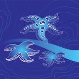 Stelle marine su un fondo Illustrazione Vettoriale