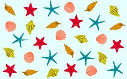 Stelle marine variopinte e coperture su un fondo blu illustrazione di stock
