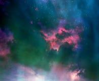 Stelle nel cielo notturno, nella nebulosa e nella galassia Fotografia Stock Libera da Diritti