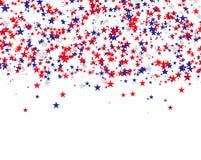 Stelle rosse, blu e bianche che cadono dal cielo, colori nazionali della bandiera di U.S.A. Immagine Stock