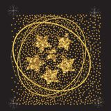 Stelle su un fondo nero, manifesto del nuovo anno, carta dell'oro alluvionale illustrazione di stock
