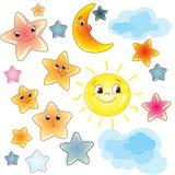 Stelle sveglie divertenti su clipart trasparente del fondo con la luna e la nuvola illustrazione di stock