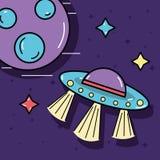 Stelle, UFOs e pianeta nello spazio della galassia Fotografia Stock