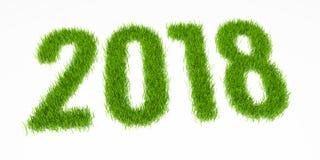 Stellen des neuen Jahres 2018 gemacht vom Gras Weißer Hintergrund Stockfotos
