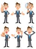 6 stellen en gebaren van zakenlieden stock illustratie