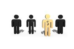 stellen goldenes Modell des Mannes 3D mit Dollarzeichen erfolgreichen Führer dar Stockbilder