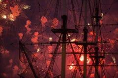 Stellen Scharlachrot Segel-während des weiße Nachtfestivals dar Lizenzfreies Stockbild