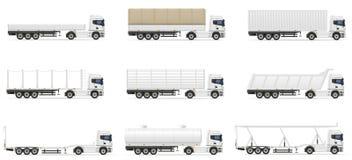 Stellen Sie Anhängervektorillustration der Ikonen-LKWs halb ein Stockfoto