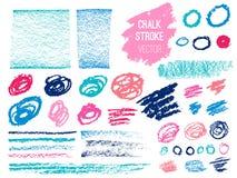 Stellen Sie Anschlagstelle blod ein Bürste, Stift, Markierung, Kreide Stockfotografie