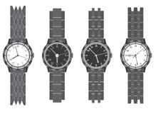 Stellen Sie Armbanduhr mit Armband ein Stockbild