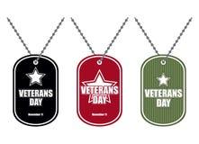 Stellen Sie Armeeausweis ein Soldatmedaillons von verschiedenen Farben Logo für Lizenzfreies Stockbild