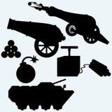 Stellen Sie Artillerie, Kanone, Behälter und Bomben ein Stockfotos