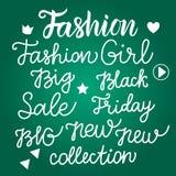 Stellen Sie Aufschriften der Modehandschrift auf einer grünen Tafel ein Vektor Abbildung
