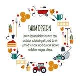 Stellen Sie Bauernhofwerkzeug-flachvektorillustration ein Garteninstrument-Ikonensammlung, Schaufel, Heugabel, Rührstange, Rasenm Stockbild