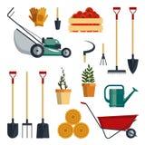 Stellen Sie Bauernhofwerkzeug-flachvektorillustration ein Garteninstrument-Ikonensammlung, Schaufel, Heugabel, Rührstange, Rasenm Lizenzfreie Stockfotografie