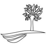 stellen Sie Baum mit Blättern und Stamm in der Formhand im Berg dar lizenzfreie abbildung