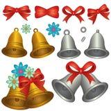 Stellen Sie Bell golden und silbern ein Stockbild