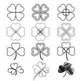 Stellen Sie Blattklee ein Drei und vier treiben, die Schattenbilder Blätter, von Hand gezeichnet, s Lizenzfreie Stockfotos
