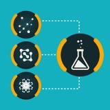 Stellen Sie blauen Hintergrund ENV der Ikonenchemikalien-Experimente ein Lizenzfreies Stockfoto