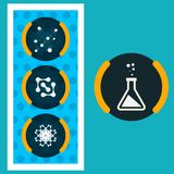 Stellen Sie blauen Hintergrund ENV der Ikonenchemikalien-Experimente ein Lizenzfreie Stockfotografie