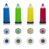 Stellen Sie Bleistiftspitzer für Bleistifte ein Stockfoto