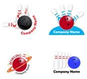 Stellen Sie Bowlingspielteamlogos ein Lizenzfreie Stockfotos