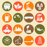 Stellen Sie 16 Brennstoff- und Energieikonen ein Lizenzfreies Stockbild