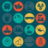 Stellen Sie 16 Brennstoff- und Energieikonen ein Stockfotos