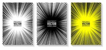 Stellen Sie Comic-Buch-Geschwindigkeitslinien Radialstrahlhintergrund ein Geometrische Illustration von Strahlen schnitt durch Zi Lizenzfreies Stockfoto