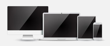 Stellen Sie Computermonitor, -laptop, -tablette und -Handy ein Lizenzfreie Stockfotos