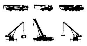 Stellen Sie Crane Silhouette auf einem weißen Hintergrund ein Stockfotos