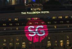 Stellen Sie das neue SG-Logo vor, um Logo SG50 in Fullerton-Hotel zu ersetzen Stockfotografie