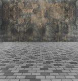 Stellen Sie das Sperren-Konzept gegenüber Perspektiven-Ansicht von monotonem Gray Brick Stone Street Road Bürgersteig, Pflasterun stockbild