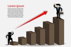 Stellen Sie das Zeigen des Erfolgs des Geschäftsmannes grafisch dar - Vector illustrati Lizenzfreie Stockfotos