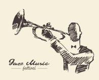 Stellen Sie den Mann ein, der gezeichnete Skizze der Trompetenweinlese Hand spielt stock abbildung