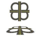 Stellen Sie den Transportaustausch ein Landstraße mit gelben Markierungen Draufsicht und in der Perspektive Abbildung Stockbild