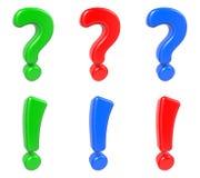 Stellen Sie die Frage und Ausrufezeichen ein, an lokalisiert Lizenzfreies Stockfoto