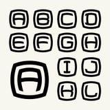 Stellen Sie die Großbuchstaben von 1 Schablonen eingeschrieben in gerundetem Quadrat ein Stockbilder