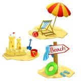 Stellen Sie die lokalisierten Strand- und Erholungssymbole ein Stockfoto