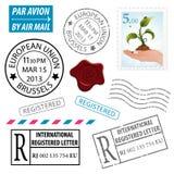Stellen Sie Briefmarken ein lizenzfreie abbildung