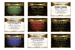Stellen Sie Diplom, Zertifikat der Anerkennung, Leistung ein horizonta Stockfoto