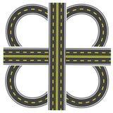 Stellen Sie ein, um einen Transportaustausch aufzubauen Landstraße mit gelben Markierungen Abbildung Stockfotos