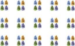 Stellen Sie einen Block von purpurroten Kegeln des Brauns des blauen Grüns auf einer festlichen Hintergrundbasis des weißen Hinte Stockfotografie