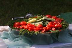Stellen Sie einen großes Metalltiefen Teller mit gehacktem Gemüse auf einem Picknick dar Stockfotos
