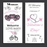 Stellen Sie Einladung für Valentinsgrußtag auf Kreidebrett ein Lizenzfreie Stockbilder