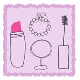 Stellen Sie Einzelteile von Kosmetik ein lizenzfreie abbildung