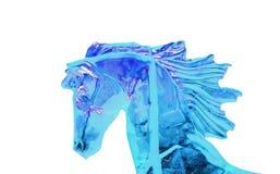 Stellen Sie Eispferdekopf mit der Fliegenmähne auf Weiß dar Lizenzfreies Stockfoto